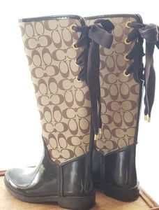 Coach Tristee Laced Up Rainboots Size 6